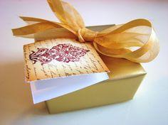 DeShawn handmade soap favor, gold packaging