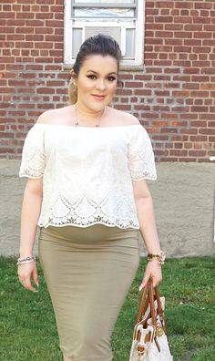 MakeUpByYolyy: Lace Off The Shoulder Blouse #BumpStyle