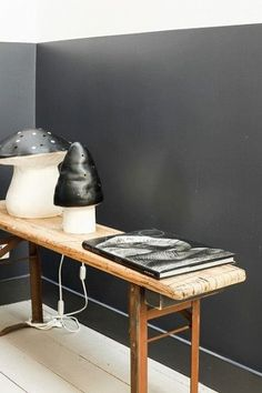 At home via nikocat blog. Black toadstool lamps.