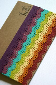 Not Stampin Up, but could use the eyelet border punch for a similar effect......Specialty Greeting Card with Rainbow Lace. $3.99, via Etsy.