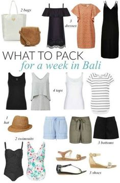 What to pack for a week in bali - sonia styling beach holiday packing, beach Travel Packing Outfits, Packing Clothes, Travel Outfit Summer, Travel Wardrobe, Vacation Outfits, Capsule Wardrobe, Summer Outfits, Packing Lists, Beach Wardrobe