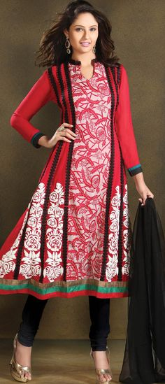 #Red and Off White Faux Georgette Flare #Churidar Kameez @ $107.01