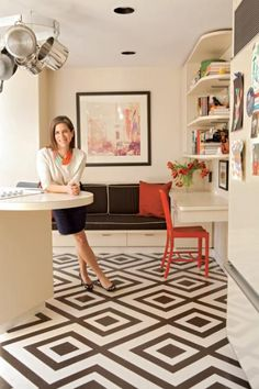 Designer Leah Steen/decorative painted floors via Northwest Home magazine