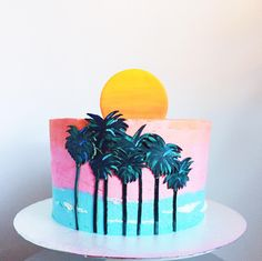 Cake Hero uses fresh, organic, and whenever possible, fair trade ingredients to bring you the most delicious treat possible. Have a favorite flavor and don Beach Themed Cakes, Beach Cakes, Themed Birthday Cakes, 30th Birthday Parties, Miami Beach Party, New York Cake, Miami Vice, Pretty Cakes, Holiday Desserts