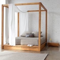 Click here to view larger image  Natural teak latform pencil post canopy bed!!! See if E. will make this for less!