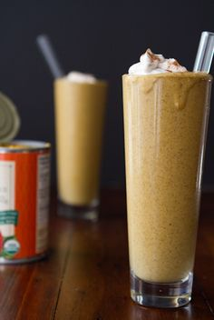 Creamy Pumpkin Pie Smoothie - Almond milk, rolled oats, chia seeds, canned pumpkin, molasses, banana, cinnamon, ground ginger and nutmeg and maple syrup