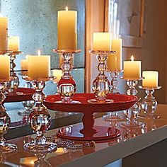 glass, red and candle display - love it.