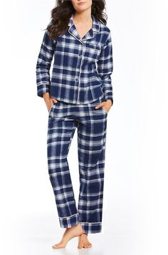 VAN WINKLE & CO. Plaid Portuguese Flannel Pajamas Pajamas Winter, Flannel Pajamas, Winter Night Suit, Portuguese, Pjs, Dillards, Fashion Dresses, Trousers, Plaid