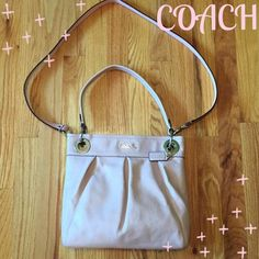 "Coach Ashley Leather Hippie Shoulder Bag Excellent condition!!!  Beautiful color of a Pearl Light Pink. This is the Coach Ashley Hippie Shoulder bag. This bag is all leather with hang tag and the Crossbody strap is removable. Silver hardware w/ Coach script on the front. Magnetic closure. Interior is a gray sateen with 1 zip pocket and 2 slip pockets. Measures 12""X11""x3"". Coach Bags Shoulder Bags"
