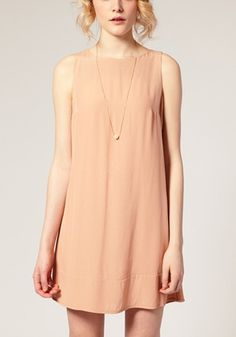 Nude Pink Buttons Round Neck Sleeveless Dacron Dress - Dresses
