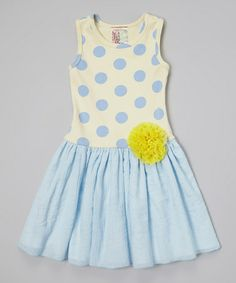 Look at this #zulilyfind! Yellow & Blue Polka Dot Dress - Toddler & Girls #zulilyfinds