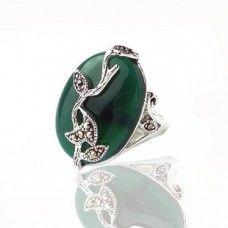 Oooh, pretty. Silver green Jade ring.