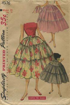 Vintage Circle Skirt Sewing Pattern | Simplicity 4976 | Year 1954 | Bust n/a | Waist 24 | Hip 33