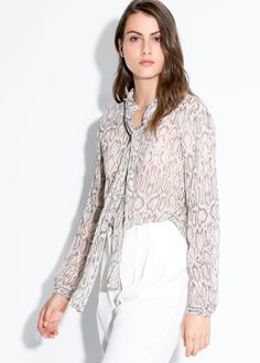 Gray Multicolor Semi-Sheer Bow snake print blouse Top @ MANGO $30