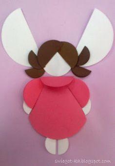 Wszystko z myślą o najmłodszych Magic Art: ANIOŁ-KOWO Bee Crafts For Kids, Vbs Crafts, Diy For Kids, Circle Crafts, Circle Art, Origami, Paper Quilling Cards, Paper Angel, Preschool Colors