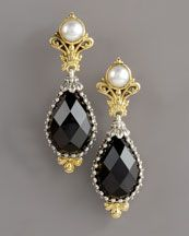 Konstantino Pearl & Onyx Oval Drop Earrings available at Neiman Marcus at 150 WORTH.