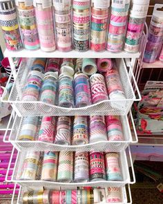 Happy Wednesday everyone!These are a few of my washi tapes collection! I keep them in this metal mesh drawer near to my desk! I hope you're all enjoying your afternoon or evening! Craft Room Storage, Craft Organization, Cute School Supplies, Craft Supplies, Office Supplies, Masking Tape, Washi Tapes, Duct Tape, Washi Tape Storage