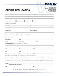 Consumer Credit Application Form