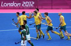 Win for the Kookaburras over Pakistan          Liam De Young of Australia celebrates scoring the first goal during the Men's Hockey match between Australia and Pakistan on Day 11 of the London 2012 Olympic Games.          © Julian Finney/Getty Images