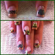 US Marines Nails. My dad would love it if I wore these! Usmc Nails, Military Nails, Marine Nails, Army Mom, Military Wife, Colorful Nail Designs, Fall Nail Designs, Nail Polish Designs, Cute Nail Art