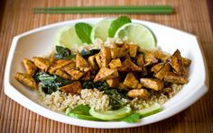 Sweet Chili Lime Tofu with Wok Steamed Collards and Quinoa | Good idea but I might replace the sugar for something else to make it healthier