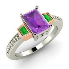 Emerald-Cut Amethyst Ring in 14k White Gold with Emerald