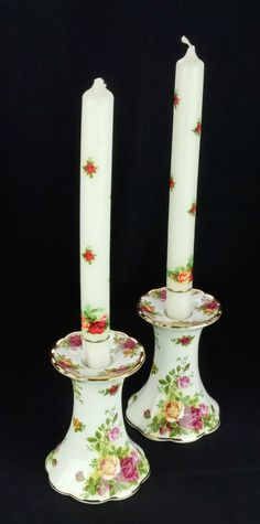 Pair of Royal Albert Old Country Roses Candle Holders with OCR Candles 1st Qlty
