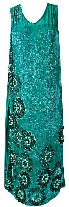 1920s Teal Beaded Chiffon Flapper Dress.