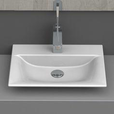 Nameeks Olinda Ceramic Wall Mounted/Vessel Bathroom Sink with White / One Hole Fixture Lavatory Sink Ceramic Drop In Bathroom Sinks, Modern Bathroom Sink, Drop In Sink, White Bathroom, Bathroom Colors, Bathroom Ideas, Glass Sink, Vessel Sink, Semi Recessed Sink