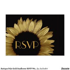 Antique Pale Gold Sunflower RSVP Wedding Small