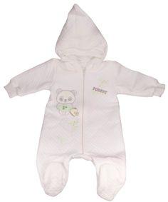 Pyjama à capuche bébé écru-Vêtement nouveau-né bébé fille/garçon