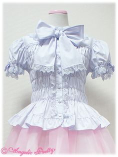 Angelic Pretty Bowtie Shirring Mellow Blouse /// ¥12,390 /// Bust: 67.5~134.5 Waist: 59.5~125.5 Length: 50 cm
