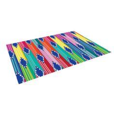 """Anneline Sophia """"Blanket"""" Rainbow Tribal Indoor / Outdoor Floor Mat   KESS InHouse"""