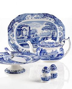 Spode Serveware, Blue Italian Collection - Casual Dinnerware - Dining & Entertaining - Macy's