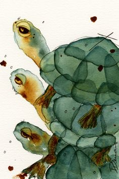 Turtle Art, Watercolor Print of Turtles. This is a fine art print of my original watercolor painting Turtle Crush. It measures 6 1/2 inches by 10