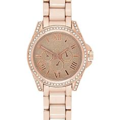 River Island Rose gold glittery statement watch ($45) ❤ liked on Polyvore featuring jewelry, watches, accessories, relógios, gold, women, red gold jewelry, river island watches, rose gold jewellery и rose gold wrist watch