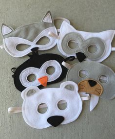 Set of FIVE Arctic Animals Felt Masks Inclues Walrus by Sarmon