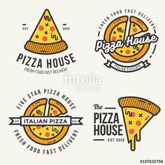 Vector: Set of pizza logo, badges, banners, emblem for fast food restaurant. Vector illustration.