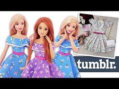 Vestido Tumblr para Barbie   DIY   Como Fazer Roupas para Bonecas - YouTube