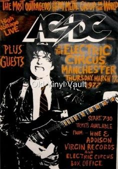 AC/DC-The Electric Circus,Manchester,UK,1977 vintage concert poster | eBay