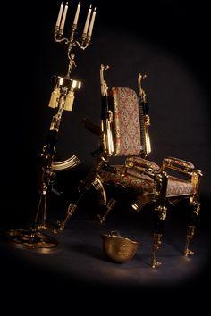 Designer Gold Plated AK47 rifle chair Airsoft, Weapons, Furniture Design, Plating, Guns, Ak 47, 2pac, Chair, Silver