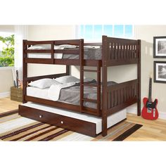 Donco Kids Full over Full Mission Bunk Bed with Twin Trundle (Dark Cappuccino), Brown