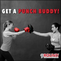 """Got big plans this weekend? Either way, be sure to make some time for fitness so that you can FINISH THE WEEK STRONG with a 9Round workout!In FACT, why not invite a friend to join you?!  Studies show that individuals are more inclined to exercise when they work out with a friend. That way, they can hold each other accountable! So call a friend, loved one, or significant other today and ask them to be your 9Round """"punch buddy.""""#9RoundCoMo #PunchBuddy #FullBodyTransformation"""