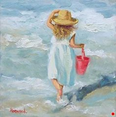 Oil Painting With Texture Painting People, Figure Painting, Drawing People, Watercolour Painting, Painting & Drawing, Watercolours, Beach Art, Beautiful Paintings, Painting Inspiration