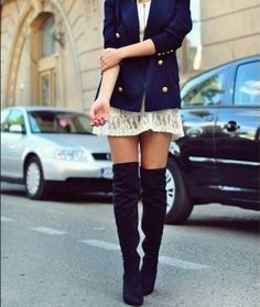 Knee high boots + lace + blazer = Perfection