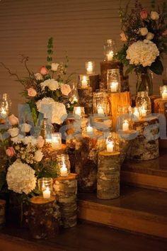 Tree stump and candle wedding ceremony decor / www.deerpearlflow... #weddings #wedding #marriage #weddingdress #weddinggown #ballgowns #ladies #woman #women #beautifuldress #newlyweds #proposal #shopping #engagement
