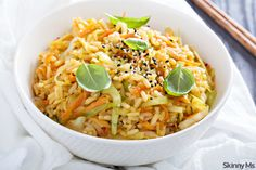 Fried Rice with Cabbage - add some cooked shrimp or chicken and make it a meal.