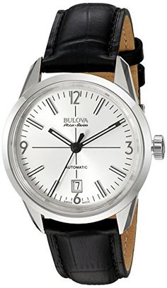 Men's Wrist Watches - Bulova Mens Murren Mechanical Hand Wind Stainless Steel and Black Leather Automatic Watch Model 63B176 * Click image to review more details.
