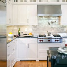 Gray cabinets marble subway tile and white countertops for What kind of paint to use on kitchen cabinets for north carolina wall art