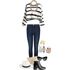 A fashion look from February 2015 featuring Dr. Denim jeans, H&M ankle booties and Olivia Burton watches. Browse and shop related looks.